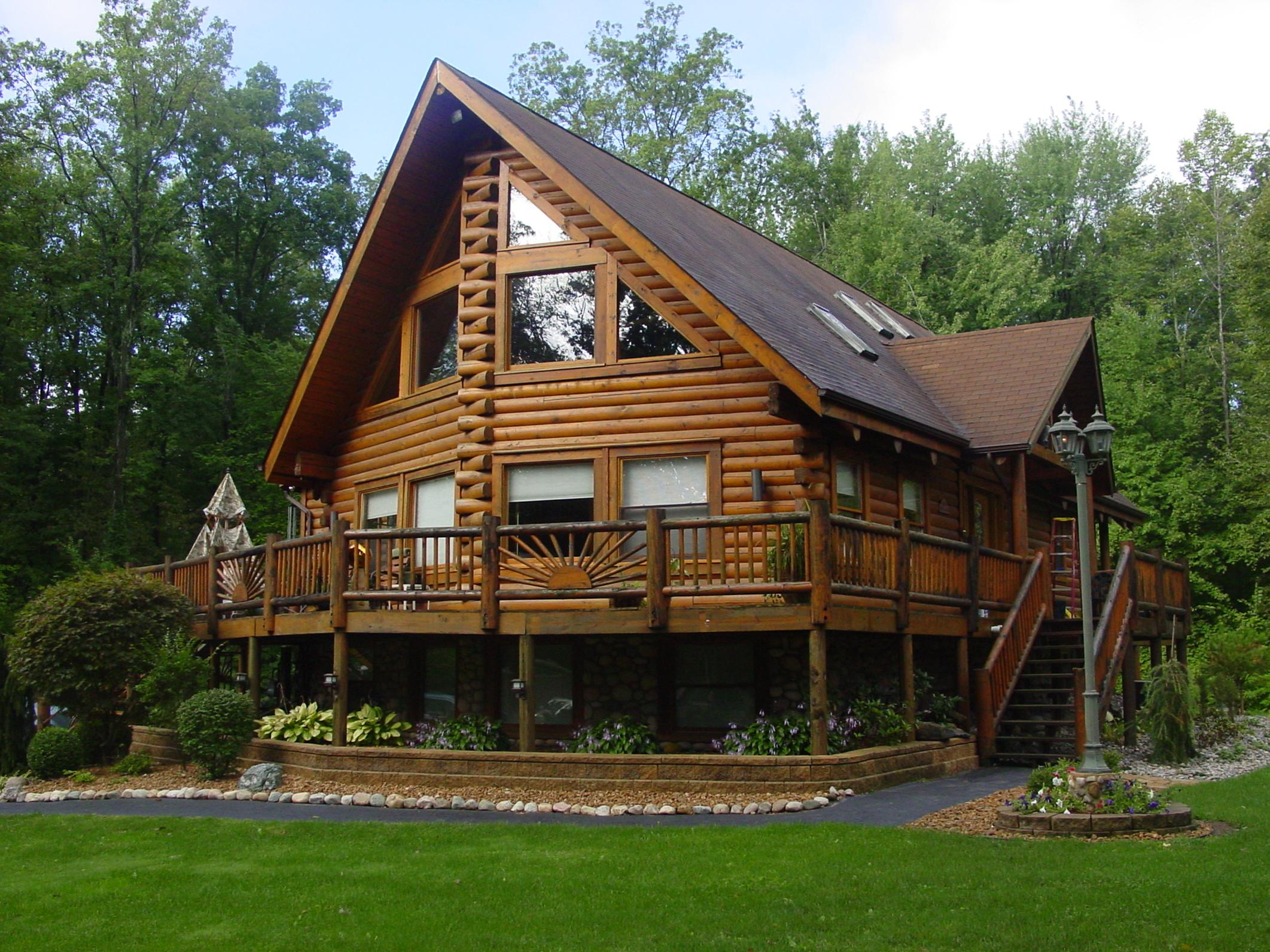 Free home plans michigan log home plans for Luxury log cabins floor plans